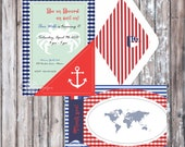NAUTICAL Birthday Party or Baby Shower Invitation - Nautical Invitation - Red and Blue Printable Invitation - Kids Party