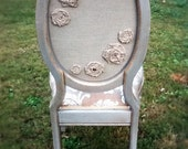 Floral Burlap and Silver Haze French Side chair 102 custom order