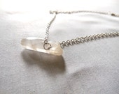 Simple Everyday Raw Quartz Crystal Necklace on a Silver Chain