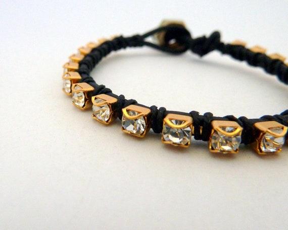 Rhinestone friendship bracelet / black / brass
