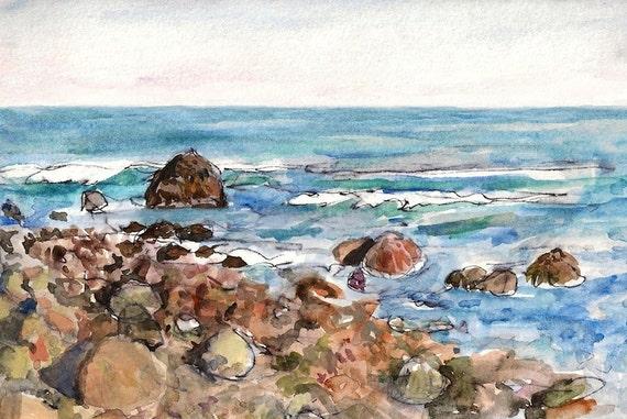 Ocean seascape, landscape fine art print 8x10 Little Compton Rhode Island, Travel Art, Wall Decor Ocean art waves Atlantic Blue Green Orange