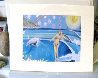 Surfing with Dolphins- Art Print