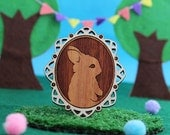Laser cut wood brooch, Adorable little bunny rabbit cameo, handpainted white border