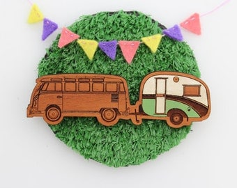 Wood laser cut brooch Cosy vintage Caravan and Kombi combo Hand painted green and white