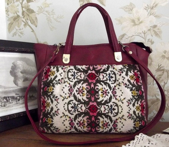 accessory vintage large womans carpet bag burgundy red tapestry  across body handbag tote woman
