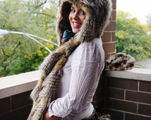 SET The March Hare rabbit hoodie scarf and mittens and Matching Bunny Tail