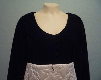 Velvet and quilted satin penoir set
