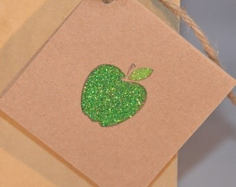 Glitter Apple Handstamped Gift Tags - Apple Placecards (Set of 6)