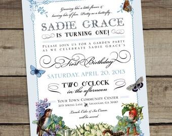DIY Custom Printable Garden Party Birthday Invitation