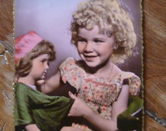 Vintage 1950 Postcard child and dolll Vintage French Hand Colored Photo