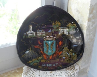 Longwy Enamel Art Pottery Mid century Wall Plate / Plaque With Crest