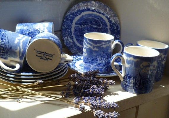 Flow Blue Demitasse Coffee Set x6 by Palissy England Thames River Scenes Blue & White