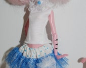 Custom white top with lase bow and skirt  made to fit Monster High doll