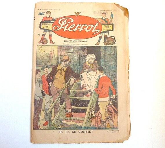 Antique French old paper .Newspaper.1931 .Shabby chic .Paper ephemera .french magazine . Back to School .  .
