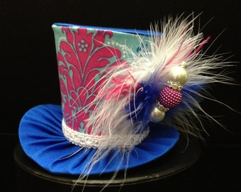 Pink and Blue Damask Mini Top Hat.  Great for Birthday Parties, Tea Parties, Photo Prop and Much More...