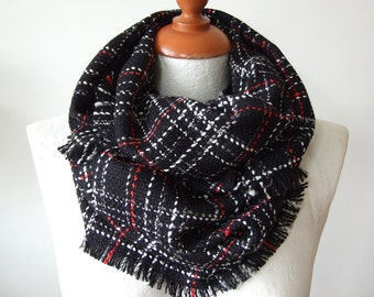 Unisex infinity plaid scarf loop circle / black red white wool blend scarf / tartan scarf / fall autumn winter scarf / gift under 25 dollars