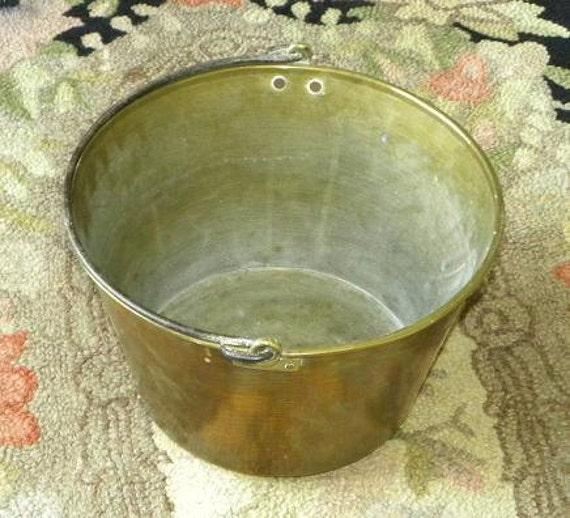 "Antique Vintage Spun Brass Bucket Wrought Iron Handle Pat. 1852 CT Made 9 1/2"" x 15 1/2"""