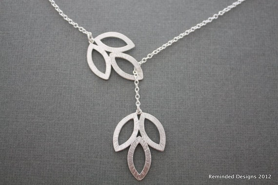 059- Nourish- Three Leaf lariat, Sterling Silver necklace, gift, modern, bridal