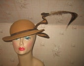 Vintage Jack McConnell It's for the Birds Brown Wool and Feather Fascinator Hat