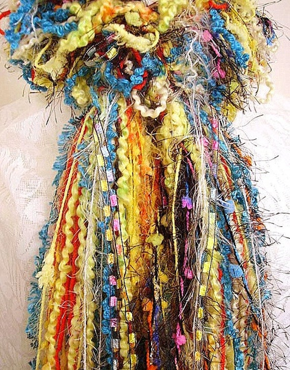 """Now 25% off- Knotted & Ruffled  Womens Fashion Scarf- """"Yohann's Beautiful Feathers"""" was 24.50 multi-colored"""