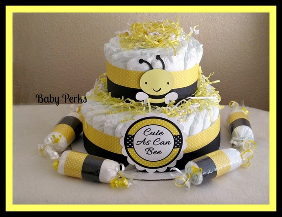 on sale bumble bee diaper cake mother to bee baby shower. Black Bedroom Furniture Sets. Home Design Ideas
