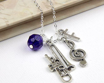 Personalized Trombone Music Necklace with Your Initial and Birthstone