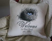 Personalized Welcome to our Nest Black & White Etching on Cotton Canvas 16x16 Pillow Cover