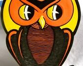 Vintage Halloween Decoration Beistle Luhr's Embossed Die-Cut Black Owl
