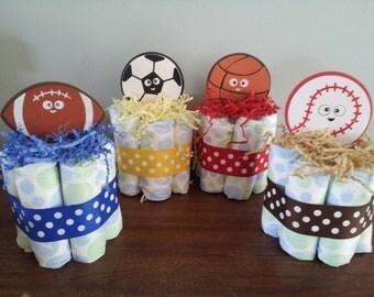 4 SPORTS theme mini diaper cake, baby shower centerpiece