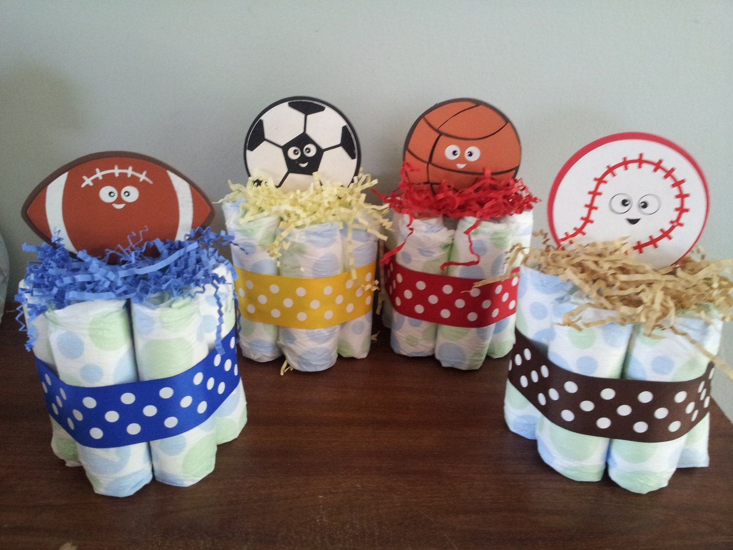 Diaper Cake Centerpiece For Baby Shower : 1 SPORTS theme mini diaper cake baby shower centerpiece