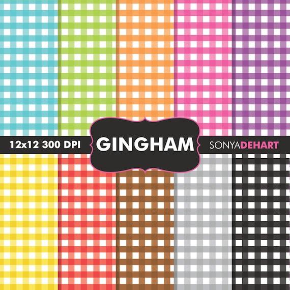 Gingham Digital Rainbow Gingham Digital Paper Pack Digital Paper