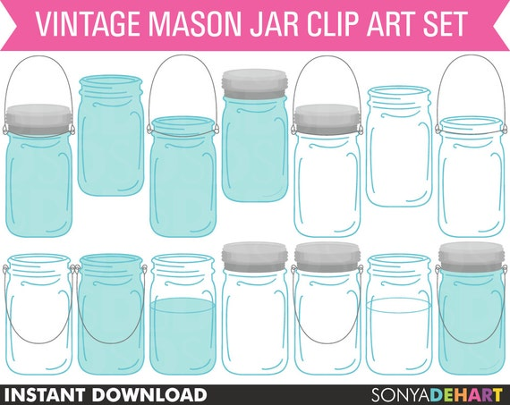 80% OFF SALE Clipart Vintage Mason Ball Jars Instant Download Commercial Use
