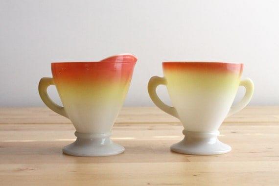 "Hazel Atlas Cream & Sugar Set - ""Candy Corn"" Fall Colored Milk Glass Creamer and Sugar Bowl for Halloween"