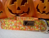 Halloween Dog Collar: Adjustable Candy Corn Black Cat or Dancing Pumpkin