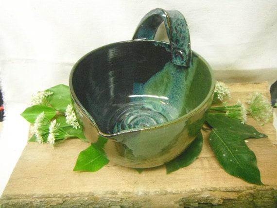 Batter Bowl - Medium Mix Bowl with Handle - Monet Blue Green