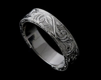 Hand Engraved Wedding Ring, Men's Wedding Band Ring, Hand Carved Men's Ring, 14k gold  Ring, Scroll Engraved Men's Ring, Vintage Style 6mm