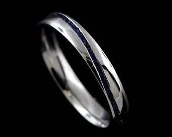 Eternity Sapphire Wedding Band, Blue Sapphire Channel Set Women's Wedding Ring, Comfort Fit Gemstone Wedding Ring, Classic 3mm Gold Ring