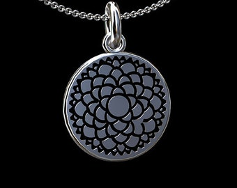 The Crown Chakra Pendant, Lotus Chakra, Gold Sahasrara Necklace, Religious Symbol Necklace, Round Disc Necklace, Black Painting Chakra Disc