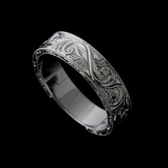 Engraved Mens Wedding Band Vintage Style