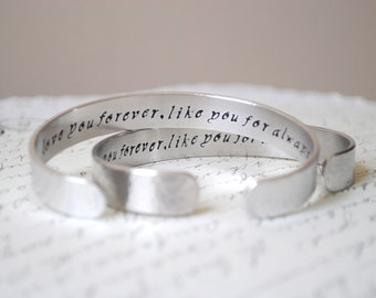 Love You Forever Like You For Always Secret Message Set of Two Hand Stamped Hand Stamped Bracelet- Personalized Bracelet