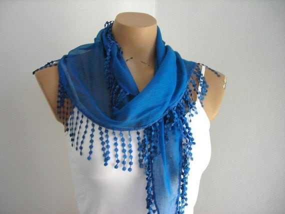 Blue Scarf  Woman Scarves Summer Scarf Cotton Scarf