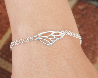Sterling Silver Butterfly Wing Bracelet, Nature Jewelry,  Sterling Silver Jewelry Handmade