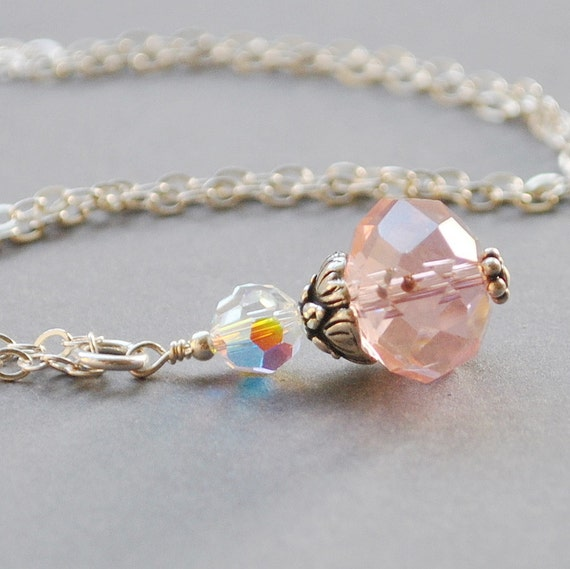 Pink Necklace, Pendant Necklace, Pink Crystal Necklace, Handmade Sterling Silver Jewelry