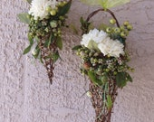 Pair of Flower Girl Woodland, Fantasy, Fairy Grapevine Cone Baskets, READY To SHIP,