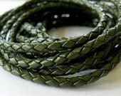 Leather Bolo Cord 3MM Braided Jewelry Lace Khaki Green 1 Yard
