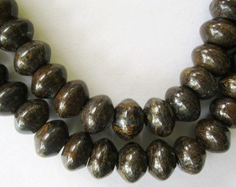 Bronzite Bead Big Hole 12mm Rondelle Brown Gold Gemstone 12  Beads Fit Leather Cords