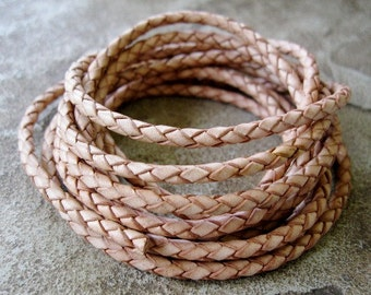 4 MM Braided Bolo Light Natural Leather Cord 2 Yard Sale