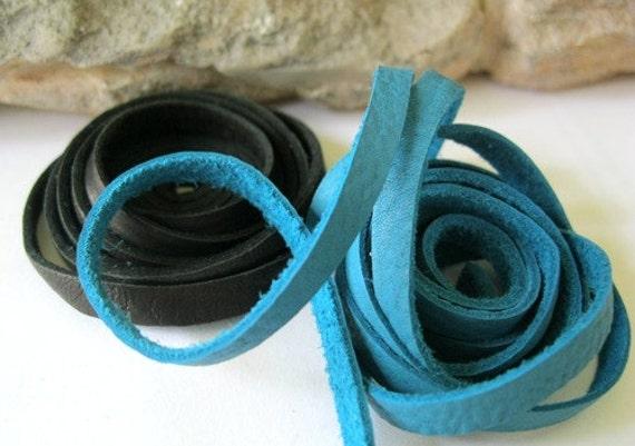 Deerskin Leather Lace 5MM Black n Turquoise 1Yd Each 2 Yds Total 6 Feet