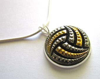 WATER POLO vintage glass button pendant with chain.  Have earrings to match