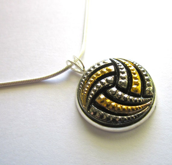 WATER POLO antique glass button pendant with chain. 16, 18 or 20 inches. Have earrings to match